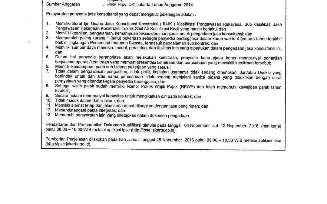 Pengawasan (Supervisi) Pemasangan Jaringan Pipa Air Limah Jl. Gatot Subroto Sisi Selatan
